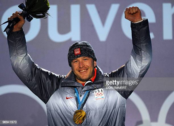 Gold medalist Bode Miller of the US reacts as he attends the medal ceremony for the men's Super Combined at Whistler Medals Plaza during the...