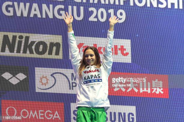 Gold medalist Boglarka Kapas of Hungary poses during the medal ceremony for the Women's 200m Butterfly Final on day five of the Gwangju 2019 FINA...