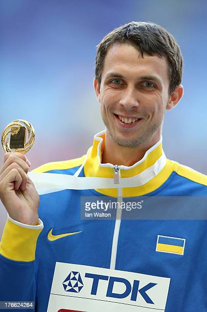 Gold medalist Bohdan Bondarenko of Ukraine stands on the podium for the Men's High Jump during Day Seven of the 14th IAAF World Athletics...