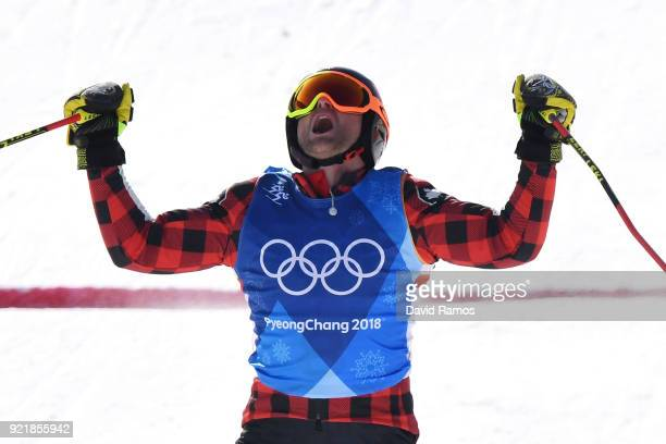 Gold medalist Brady Leman of Canada celebrates as he crosses the finish in the Freestyle Skiing Men's Ski Cross Big Final on day 12 of the...