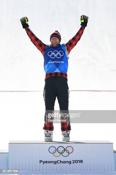 Gold medalist Brady Leman of Canada celebrates on the podium following the Freestyle Skiing Men's Ski Cross Big Final on day 12 of the PyeongChang...