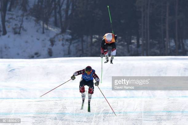 Gold medalist Brady Leman of Canada crosses the finish infront of silver medalist Marc Bischofberger of Switzerland in the Freestyle Skiing Men's Ski...