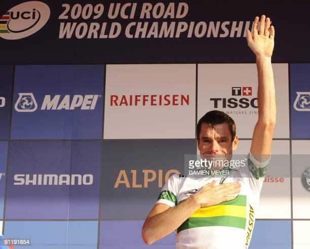 Gold medalist Cadel Evans of Australia celebrates on the podium of the Elite men's world road race championships at Mendrisio on September 27, 2009....