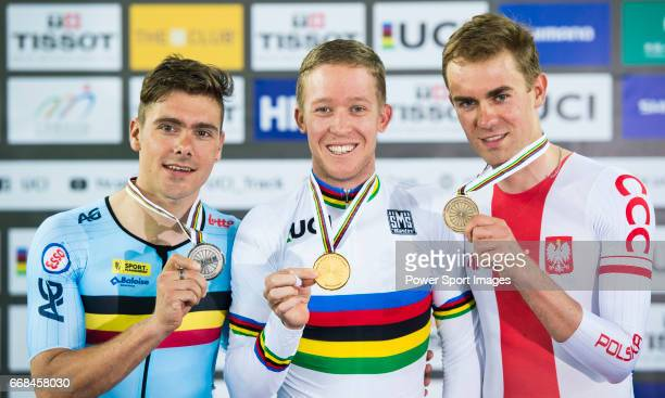 Gold medalist Cameron Meyer of Australia poses with silver medalist Kenny De Ketele of Belgium and bronze medalist Wojciech Pszczolarski of Poland on...