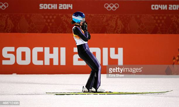 Gold medalist Carina Vogt of Germany awaits the results in the Ski Jumping Ladies Normal Hill Individual on day 4 of the Sochi 2014 Winter Olympics...