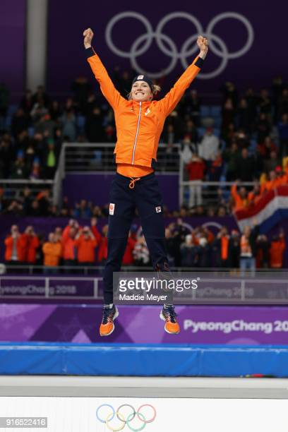 Gold medalist Carlijn Achtereekte of the Netherlands in the victory ceremony during the Women's Speed Skating 3000m on day one of the PyeongChang...