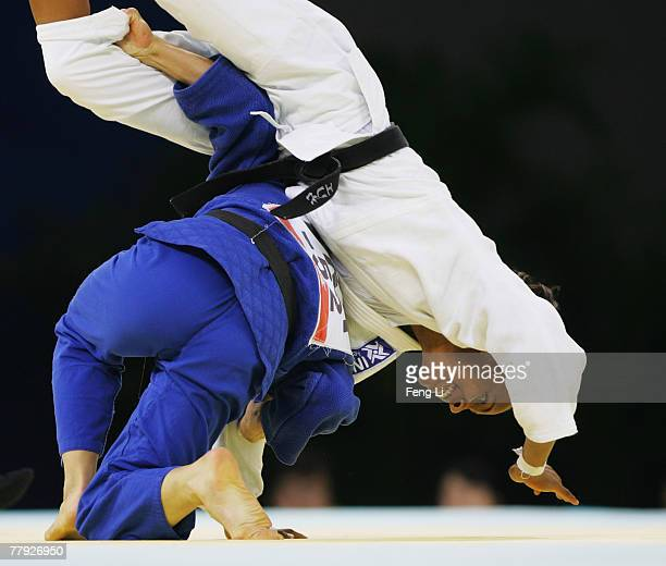 Gold medalist Caroline Lantoine of France competes with Erika Miranda of Brazil in the women's 52kg category final during the Good Luck Beijing 2007...