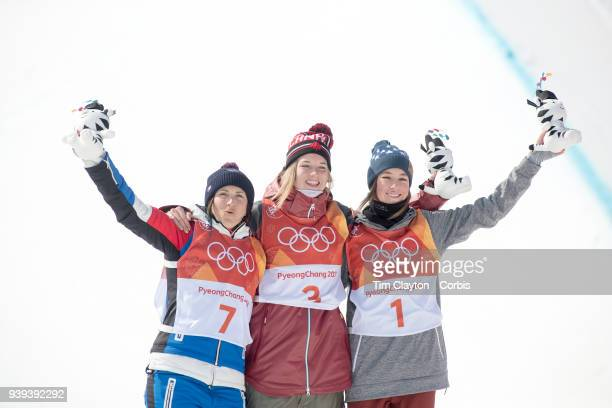 Gold medalist Cassie Sharpe of Canada silver medalist Marie Martinod of France and bronze medalist Brita Sigourney of the United States during...
