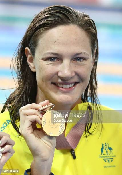 Gold medalist Cate Campbell of Australia poses during the medal ceremony for the Women's 50m Freestyle Final on day three of the Gold Coast 2018...