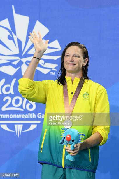 Gold medalist Cate Campbell of Australia poses during the medal ceremony for the Women's 50m Butterfly Final on day four of the Gold Coast 2018...