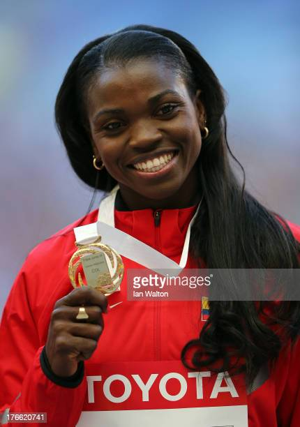 Gold medalist Caterine Ibarguen of Colombia on the podium during the medal ceremony for the Women's Triple Jump during Day Seven of the 14th IAAF...