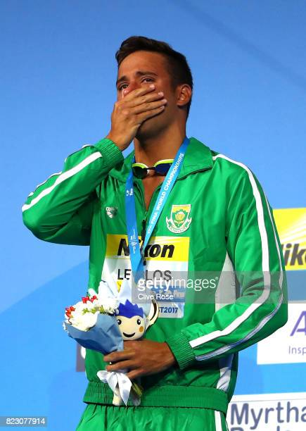 Gold medalist Chad Le Clos of South Africa poses with the medal won during the Men's 200m Butterfly final on day thirteen of the Budapest 2017 FINA...