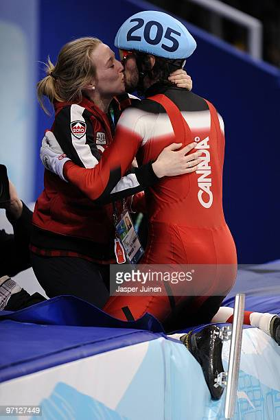 Gold medalist Charles Hamelin celebrates after the Men's 500m Short Track Speed Skating Final on day 15 of the 2010 Vancouver Winter Olympics at...