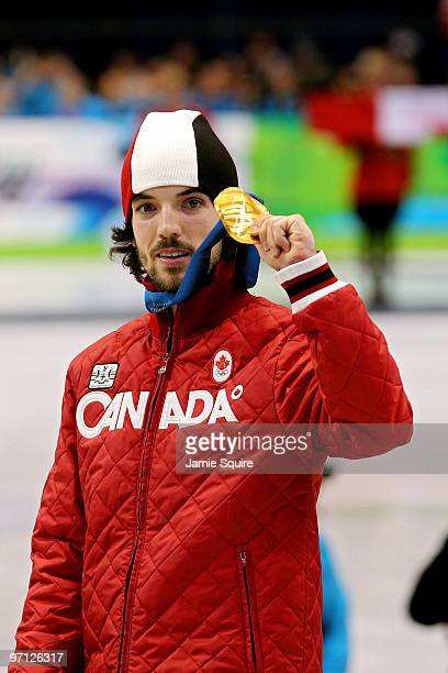 Gold medalist Charles Hamelin of Canada celebrates after the Men's 500m Short Track Speed Skating Final on day 15 of the 2010 Vancouver Winter...