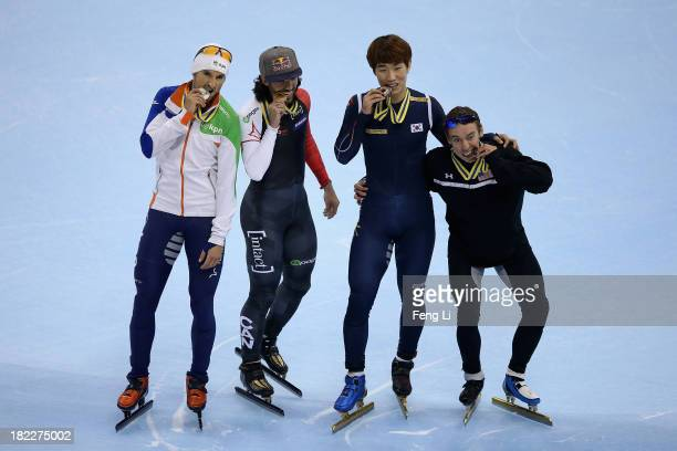 Gold medalist Charles Hamelin of Canada silver medalist Niels Kerstholt of Netherlands bronze medalist Lee HanBin of Korea and Jordan Malone of...