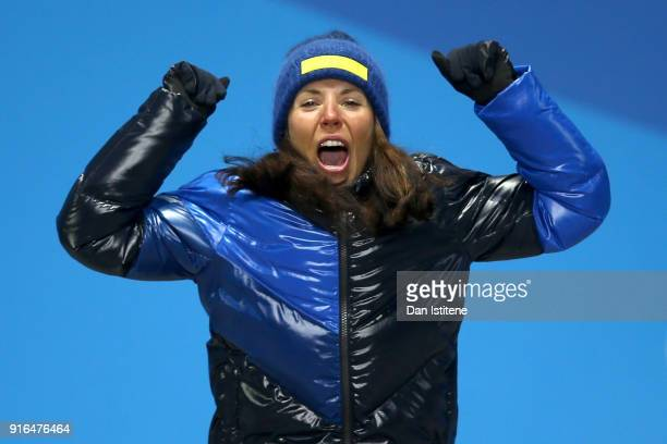 Gold medalist Charlotte Kalla of Sweden celebrates during the Medal Ceremony for the Cross-Country Skiing Ladies' 7.5km + 7.5km Skiathlon on day one...
