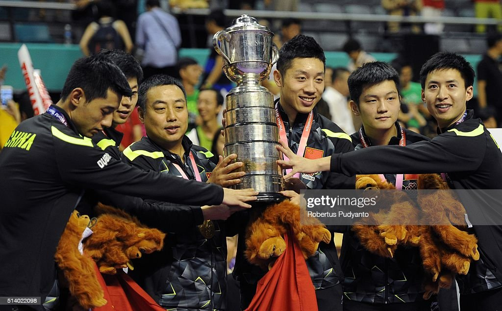 Gold medalist China team celebrate with the Swaythling Cup trophy during the 2016 World Table Tennis Championship Men's Team Division awarding ceremony at Malawati Stadium on March 6, 2016 in Shah Alam, Malaysia.