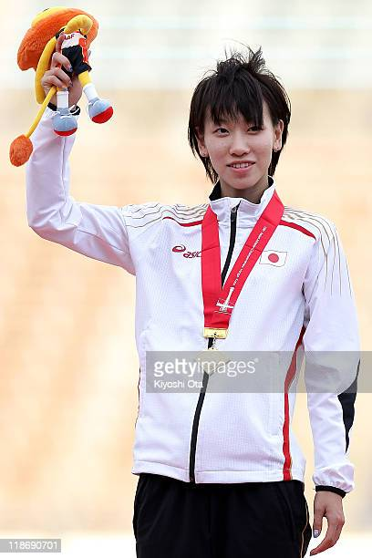 Gold medalist Chisato Fukushima of Japan poses after the Women's 200m final during the day four of the 19th Asian Athletics Championships at Kobe...