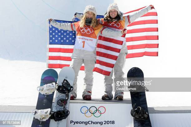 Gold medalist Chloe Kim of the United States and bronze medalist Arielle Gold of the United States pose during the victory ceremony for the Snowboard...
