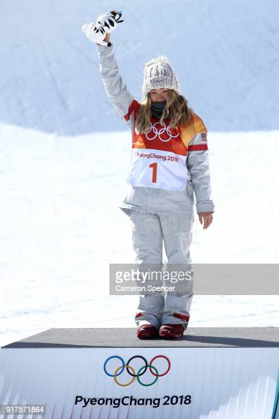Gold medalist Chloe Kim of the United States celebrates during the victory ceremony for the Snowboard Ladies' Halfpipe Final on day four of the...