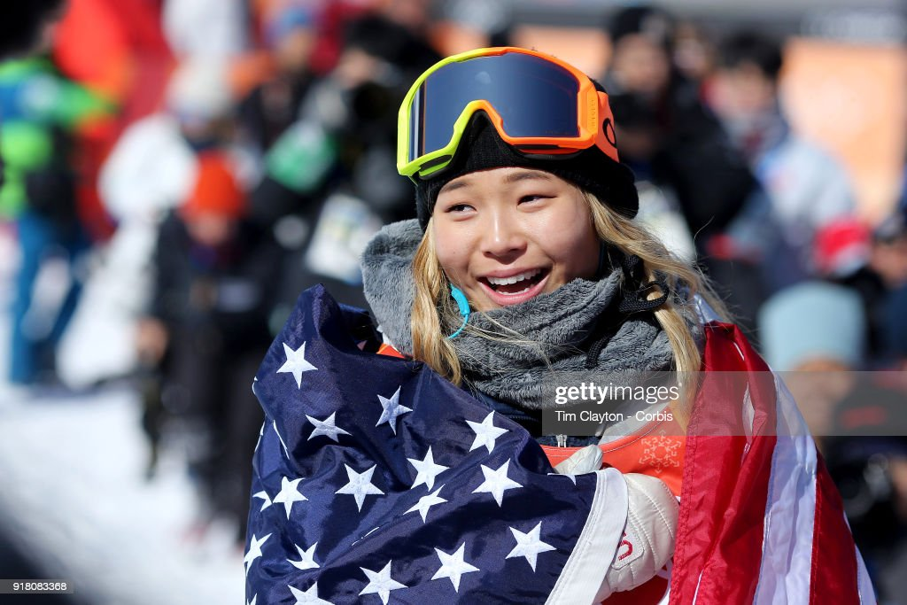 Gold medalist Chloe Kim #1 of the United States celebrates her gold medal win during the Snowboard - Ladies' Halfpipe competition at Phoenix Snow Park on February 13, 2018 in PyeongChang, South Korea.