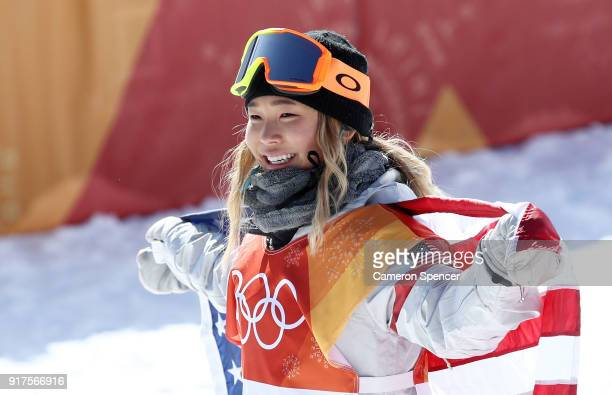 Gold medalist Chloe Kim of the United States celebrates winning the Snowboard Ladies' Halfpipe Final on day four of the PyeongChang 2018 Winter...