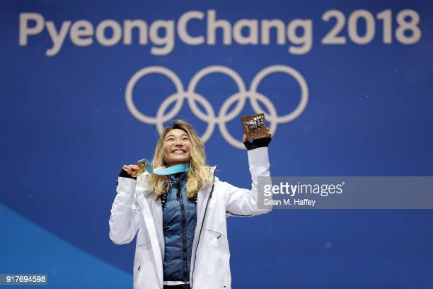 Gold medalist Chloe Kim of the United States poses during the medal ceremony for the Snowboard Ladies' Halfpipe Final on day four of the PyeongChang...