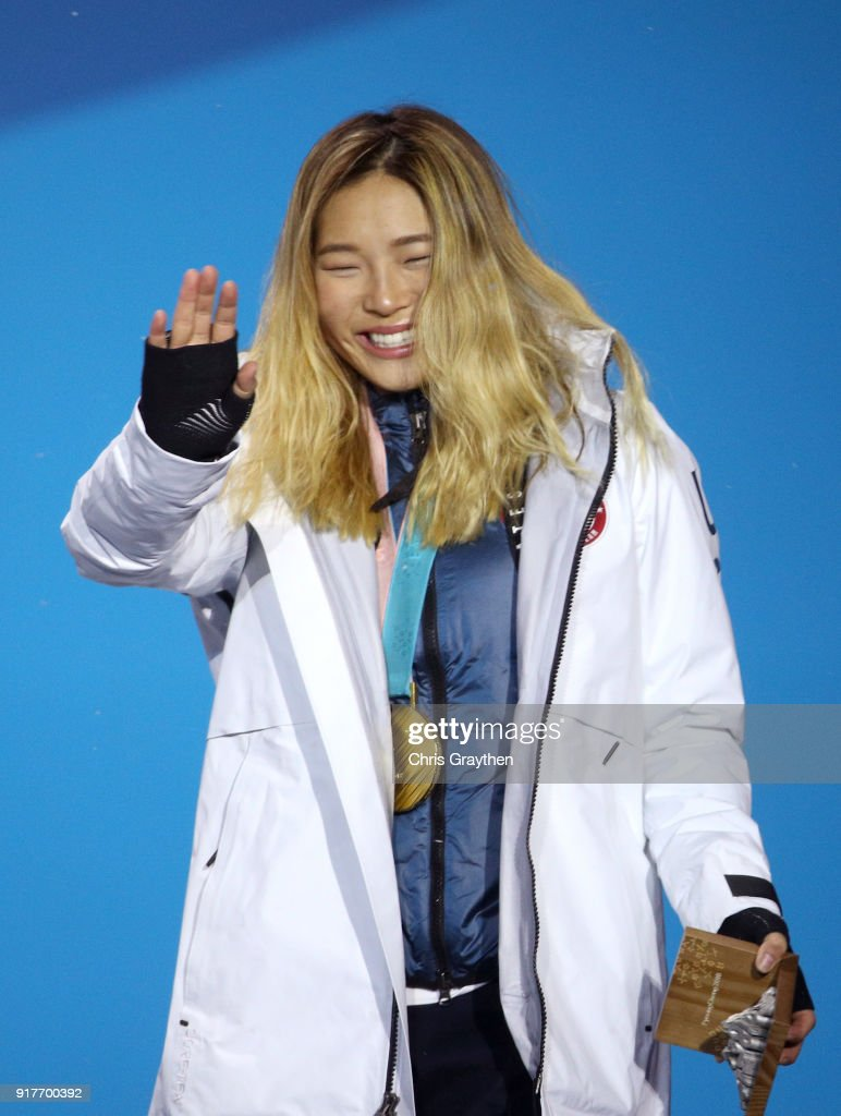 Gold medalist Chloe Kim of the United States poses during the medal ceremony for the Snowboard Ladies' Halfpipe Final on day four of the PyeongChang 2018 Winter Olympic Games at Medal Plaza on February 13, 2018 in Pyeongchang-gun, South Korea.