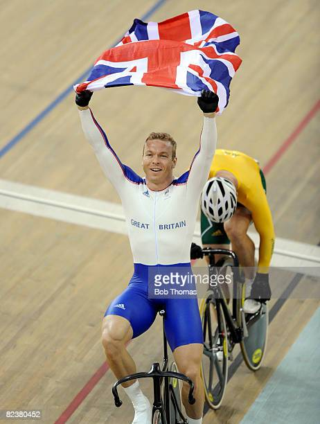 Gold medalist Chris Hoy of Great Britain celebrates after he finishes the Men's Keirin Finals at the Laoshan Velodrome on Day 8 of the Beijing 2008...