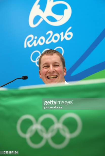 Gold medalist Christian Reitz of Germany attends a press conference after the 25m Rapid Fire Pistol Men's final in the Shooting events during the Rio...