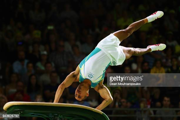 Gold medalist, Christopher Remkes of Australia competes during the Men's Vault Final during Gymnastics on day five of the Gold Coast 2018...