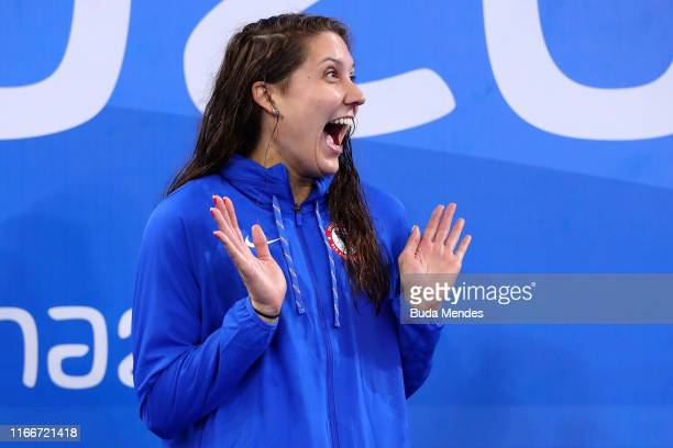 Gold medalist Claire Rasmus of United States reacts in the podium of Women's 200m Freestyle on Day 12 of Lima 2019 Pan American Games at Aquatic...