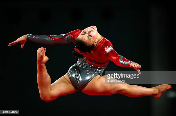 Gold medalist Claudia Fragapane of England competes during the Women's Floor Final at SSE Hydro during day nine of the Glasgow 2014 Commonwealth...