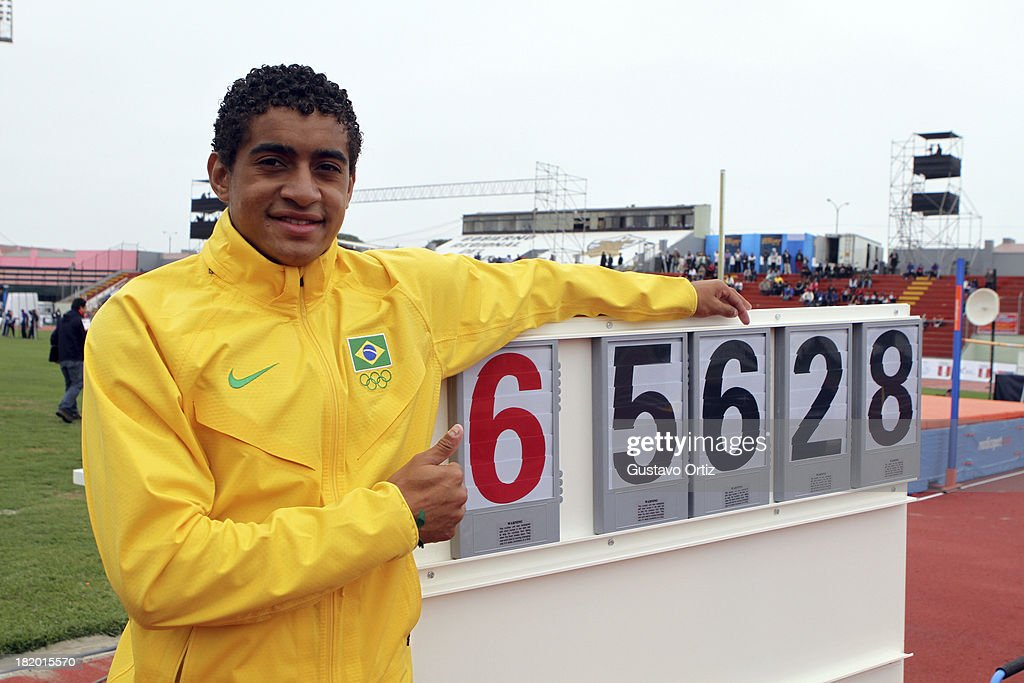 Gold medalist Cleverson Pereira of Brazil shows his mark in Men's Discus Throw as part of the I ODESUR South American Youth Games at Estadio Miguel Grau on September 27, 2013 in Lima, Peru.