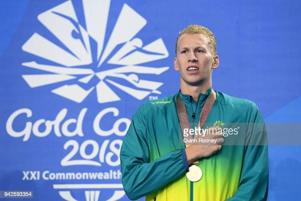 Gold medalist Clyde Lewis of Australia poses during the medal ceremony for the Men's 400m Individual Medley Final on day two of the Gold Coast 2018...