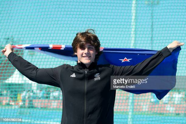 Gold medalist Connor Bell of New Zealand poses for a picture after competing in Men's Discus Throw 15kg Stage 2 during day 8 of Buenos Aires 2018...