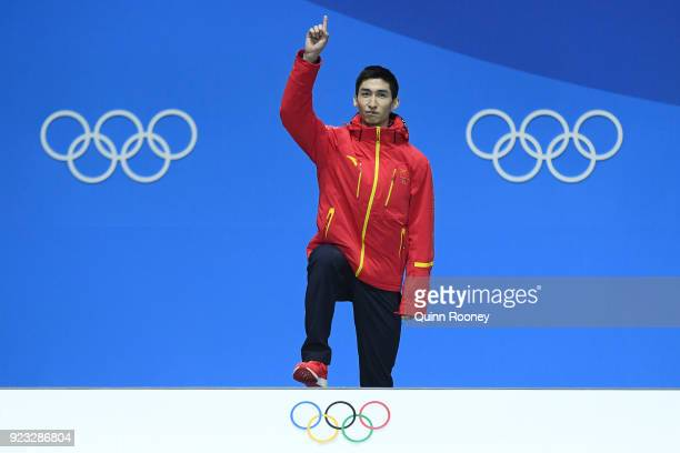 Gold medalist Dajing Wu of China celebrates during the medal ceremony for Short Track Speed Skating Men's 500m on day 14 of the PyeongChang 2018...