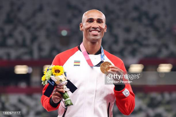 Gold medalist Damian Warner of Team Canada stands on the podium during the medal ceremony for the Men's Decathlon on day fourteen of the Tokyo 2020...
