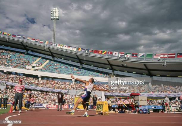 Gold medalist Dan O'Brien of the United States competes in the Javelin throw discipline of the Men's Decathlon competition at the 5th International...