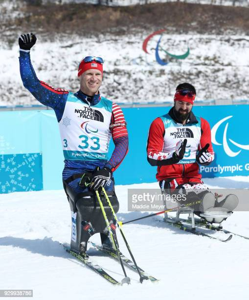 Gold medalist Daniel Cnossen of the United States celebrates after the Men's 75 km seated biathlon competition at Alpensia Biathlon Centre on Day 1...