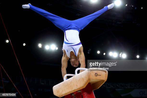 Gold medalist Daniel Keatings of Scotland competes in the medal ceremony for the Men's Pommel Horse Final at SSE Hydro during day eight of the...