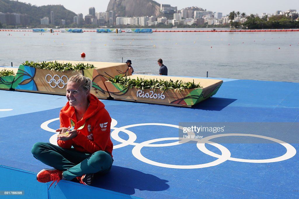 Gold medalist Danuta Kozak of Hungary poses for a photo during the medal ceremony for the Women's Kayak Single 500m event at the Lagoa Stadium on Day 13 of the 2016 Rio Olympic Games on August 18, 2016 in Rio de Janeiro, Brazil.