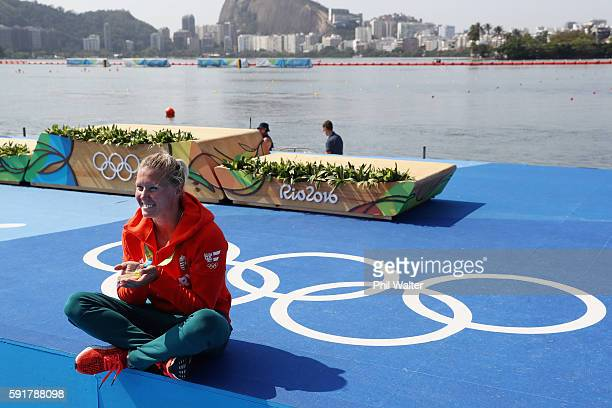 Gold medalist Danuta Kozak of Hungary poses for a photo during the medal ceremony for the Women's Kayak Single 500m event at the Lagoa Stadium on Day...
