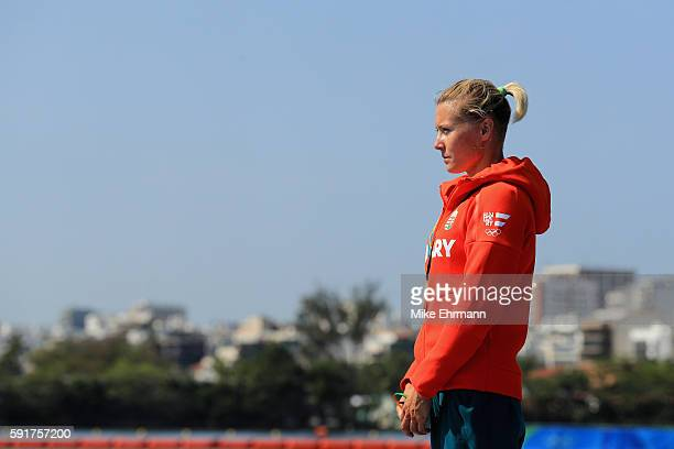 Gold medalist Danuta Kozak of Hungary stands on the podium during the medal ceremony for the Women's Kayak Single 500m event at the Lagoa Stadium on...