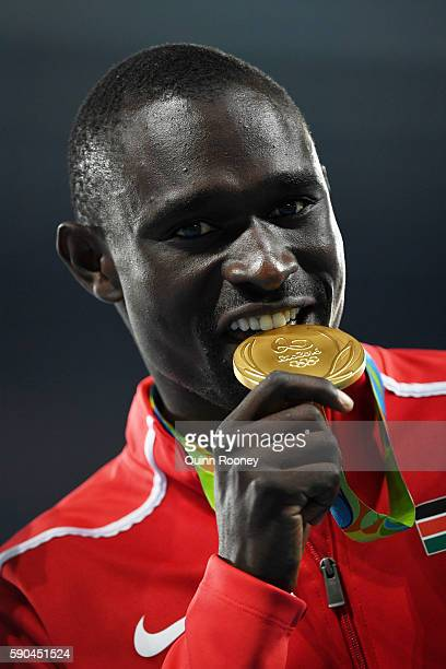 Gold medalist David Lekuta Rudisha of Kenya poses during the medal ceremony for the Men's 800m Final on Day 11 of the Rio 2016 Olympic Games at the...