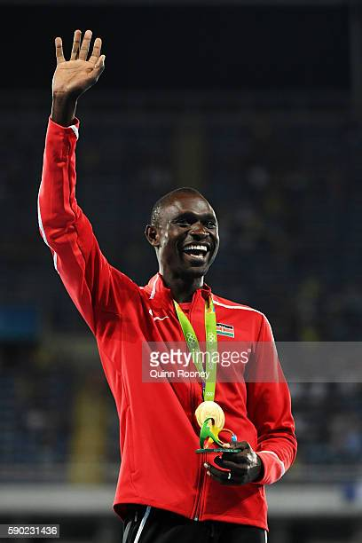 Gold medalist David Lekuta Rudisha of Kenya reacts during the medal ceremony for the Men's 800m Final on Day 11 of the Rio 2016 Olympic Games at the...