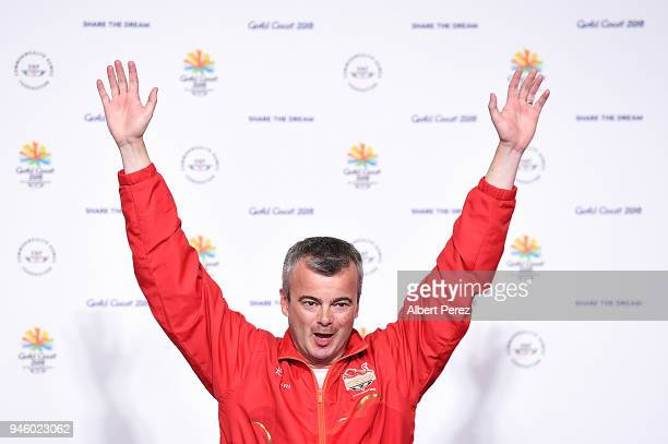 Gold medalist David Luckman of England celebrates in the medal ceremony for the Queen's Prize Individual during Shooting on day 10 of the Gold Coast...