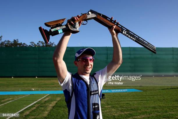 Gold medalist David McMath of Scotland poses following victory in the Men's Double Trap Finals on day seven of the Gold Coast 2018 Commonwealth Games...
