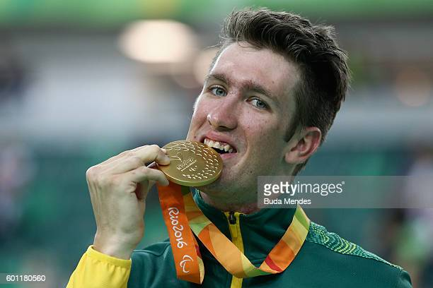 Gold medalist David Nicholas of Australia celebrates on the podium at the medal ceremony for Men's 3km Pursuit C3 Final on day 2 of the Rio 2016...