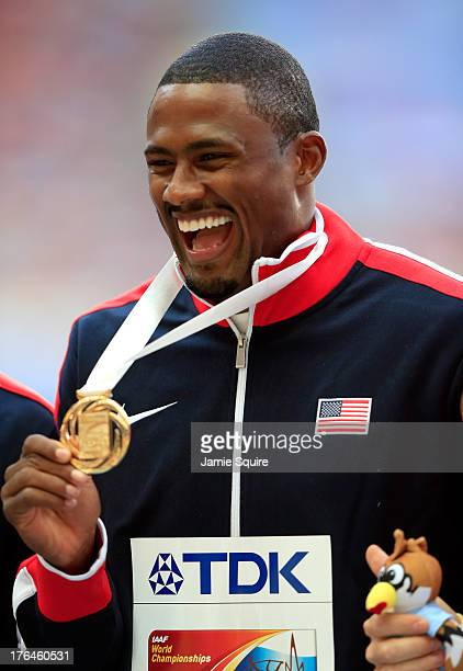 Gold medalist David Oliver of the United States on the podium during the medal ceremony for the Men's 110 metres hurdlesduring Day Four of the 14th...